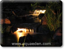 A stream at night with underwater pond lights