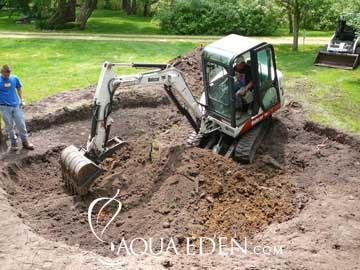 Pond Excavator on-site in Lakeville