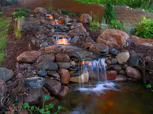 Backyard pond and waterfalls for Backyard koi fish pond