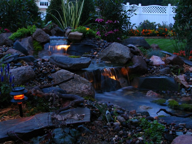 Pond Pictures Waterfalls Evening Waterfall Lights