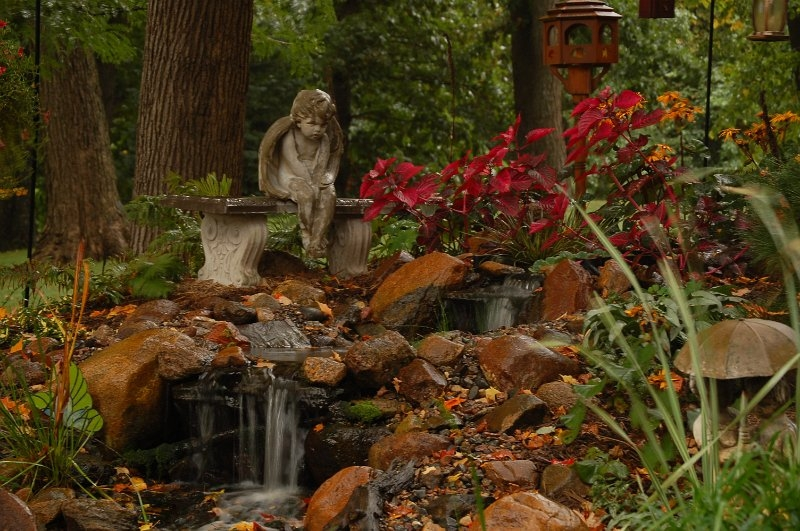 statue-pond-waterfall
